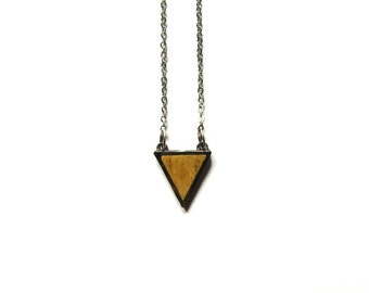Triangular wood stainless steel necklace