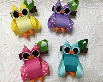 Owl Ribbon Sculpture Hair Clip (RS-14), Owl Hair Bow, Owl Hair Clip, Girls Hair Clip