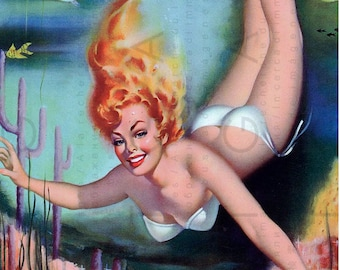 FABULOUS PINUP Like A MERMAID ! Stunning Retro Pulp Fiction Pin Up Illustration. Golden Age Pin Up. Digital Pinup Download.