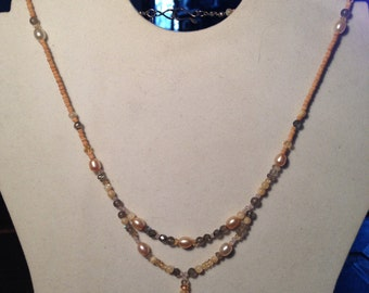 Pearl Moonstone Citrine Wooden Bead Necklace