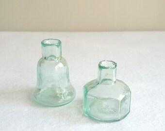 Pair of Victorian Handblown Burst-Top Ink Bottles