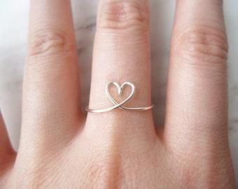 Adjustable Heart Ring//silver heart ring, heart midi ring, love ring, heart knuckle ring,wire heart ring,Midi Ring,sterling silver ring,Gift