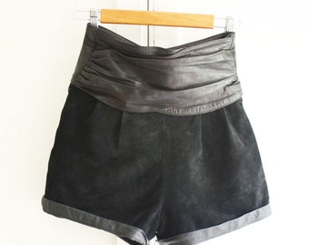 Vintage 80s Black Leather & Suede high waisted Banded shorts 80s XS/S Size 2