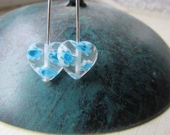 Heart earrings , Translucent earrings , Blue earrings , Milliefiori bead earrings , Silver plated earrings , Dangle earrings , Gifts for her