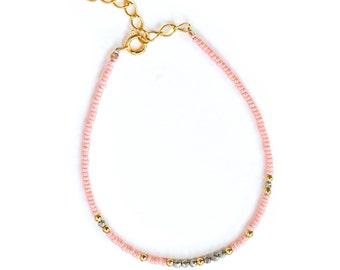 Light pink seed bead bracelet with semiprecious gemstones and gold filled beads