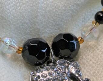 Gem Encrusted Silver Elephant  Bracelet