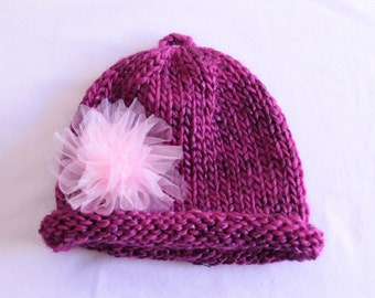 Magenta Pink Flower Knitted Toddler Hat