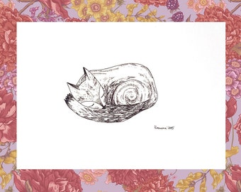Ink Drawing Original Drawing of animals Ink Art Little Sleeping Fox, Pen and Ink Illustration