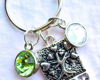 SISTERS necklace, sister jewelry, birthstone necklace, sister gift, sisters charm, peridot crystal, birthday necklace