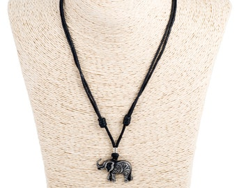 black cord, adjustable necklace with metal elephant pendant