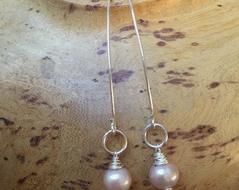 Champagne Pearl, Wire Wrapped, Dangle, Earrings