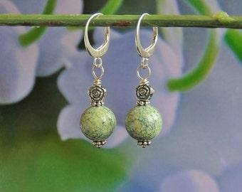 Serpentinite, earrings, silver earrings, dangle earrings, gemstone earrings, stone earrings, elegant earrings, olive green, gift for her