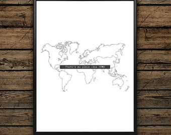 "Poster Quote""There's no place like HOME""- Scandinavian Style - Wall decoration - Typographic Design - Black and White Illustration - Gift"