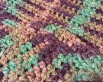 Chunky Purple/Teal/Gray Cat Blanket