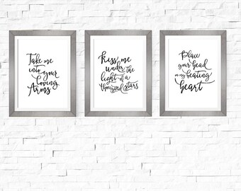 Series of 3 Wedding Song Lyrics Sign | Thinking Out Loud | Wedding Decoration | Wedding Gift | Anniversary Gift