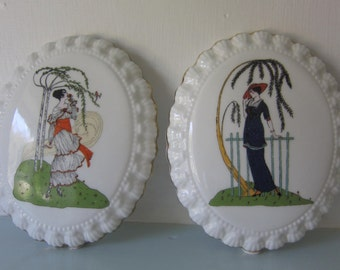 Art deco wall plaques wall hangings 1920's ladies Summer scenes in sandringham english fine bone china