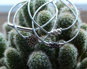Beaded Stretch Bracelet Silver Bracelet Set Silver Stacking Bracelets Strass Bracelet Mix and Match Bracelets Tube Bracelets Metallic Band
