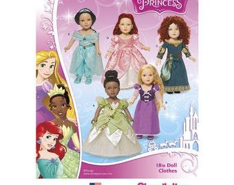 "Sewing Pattern for American Girl ,18"" Doll Wardrobe , Disney Princess Costumes,  Simplicity Pattern 1219, Tiana, Jasmine, Rapunzel, Merida"