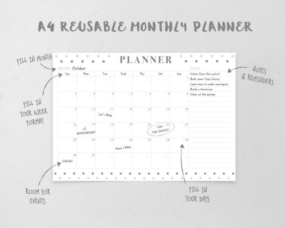 Reusable Monthly Calendar : Monthly planner template monochrome dot reusable organizer