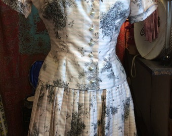 1950's silk tailored blouse and skirt