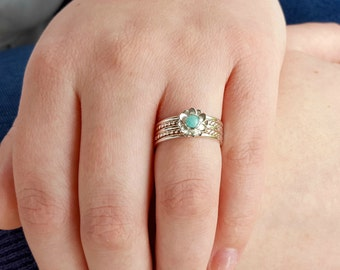 Dainty Silver Stack - Flower Nature Ring - Amazonite Ring - Delicate Ring - Rope Twist Ring - Set of Skinny Rings - Cute Gift for Girlfriend