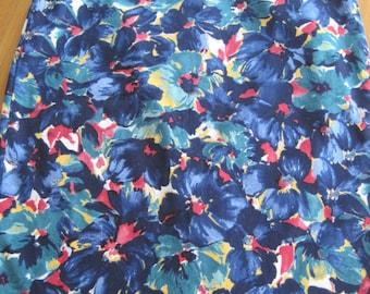 Talbots Pencil Skirt, Blue Floral, Size 10