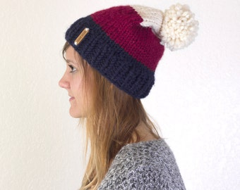 Knit Comfy Tri-Colored Hat | AMERICAN POP ROCKS |
