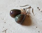 Natural Fancy Jasper (Rainbow Jasper) and Peach Moonstone Earrings, Genuine Stone Earrings, Healing Crystals, June Birthstone, Multicolored