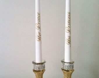 His Princess Her Prince Candle, Fairy Tale Wedding, Royal Wedding Theme Centerpiece, Princess Wedding, Monogramed Candle