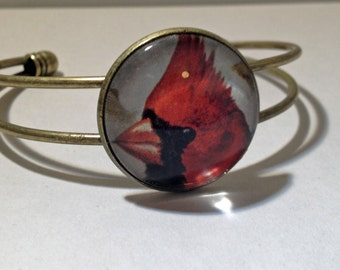 Vintage Red Bird Bronze-Tone Glass Dome Bangle Bracelet