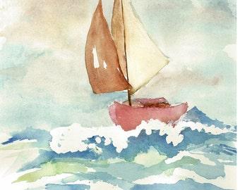 choppy seas, painting art print watercolor painting