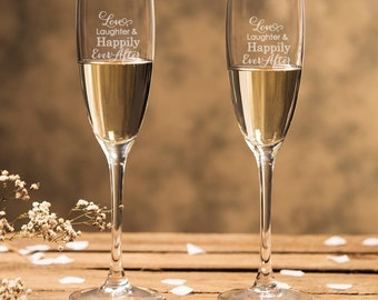 Engraved - Love, Laughter and Happily Ever After - Champagne Flutes (2pcs) - Toasting Flutes - DGI22-A13