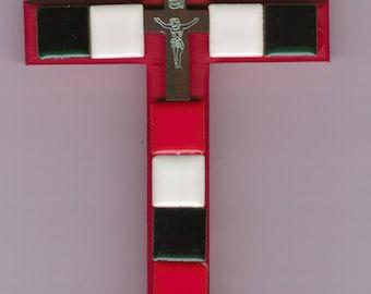 Christian Cross, red/white/black tiles