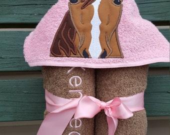Hooded towel - Horse hooded towel - beach towel- bath towel- Pool towel