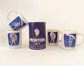 ON SALE Morton Salt Umbrella Girl Ceramic Advertising Mugs - Complete Set of 4