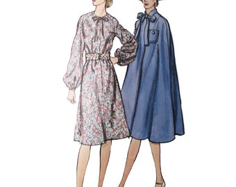 Vogue 8006 60s Sewing Pattern, Size 14 Women's Dress and Cape, Long Sleeve Dress Fitted, Puffed Sleeves, Bow Tie Cape, Halloween Costume