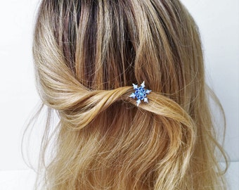 Blue Snowflake Hair pick, Snowflake hair pin, Bobby pin, Christmas hair pin