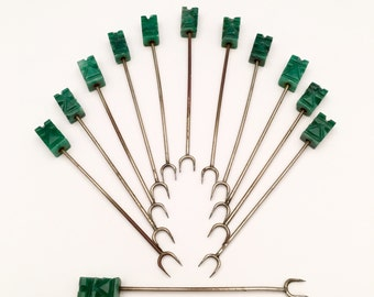 Set of 12Mid Century Kitsch Tiki, Totem Head Appetizer Forks carved of Green Agate, ca. 1950s