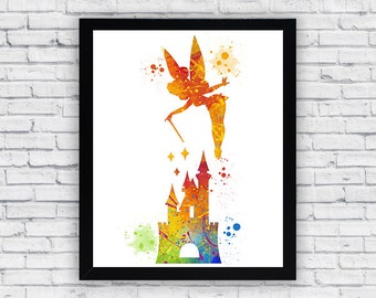 Tinkerbell And Castle Watercolor Print Tinkerbell Printable Wall Art Tinkerbell Wall Decor Tinkerbell