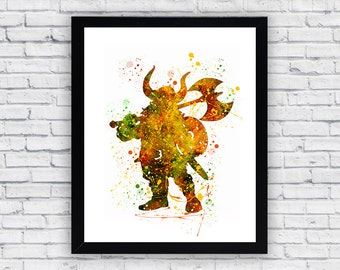 Viking watercolor print art, Viking Home Decor, Viking Wall Decor, Viking Wall Art, Viking  poster