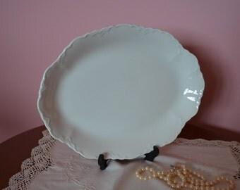 Antique serving platter, Embossed Whiteware, Johnson Bros England, c. 1913, White Ironstone China