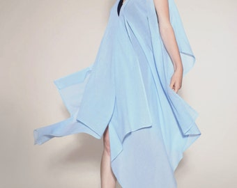 "elegant, lightweight dress ""BRILANTA MARO' from draped light blue von Hirschhausen, organic cotton"