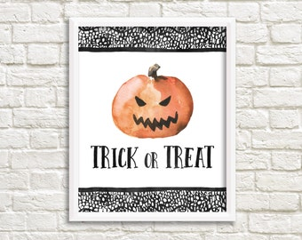 Trick or Treat Halloween Printable Wall Art Pumpkin Print Halloween Print Jack O Lantern Pumpkin Print Halloween Decor Trick or Treat Print
