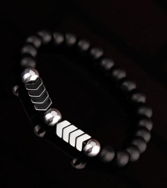 Natural Stone Matte Black Onyx Bead Bracelet, Silver Arrow, Men Bracelets, Bloodstone Bracelets, Gift for men, Unisex Jewellery