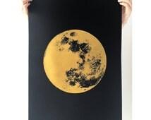 Large Moon Print, Gold Print, Realistic Moon, Boho, Bohemian, A2 Art Print, Print, Screenprint, Gift Idea, Print