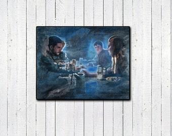 GAME OF THRONES ** John & Sansa Watercolor Print ** 11x14in, House Stark, Watchers on the Wall, Got season 6, sophie turner, kit harrington