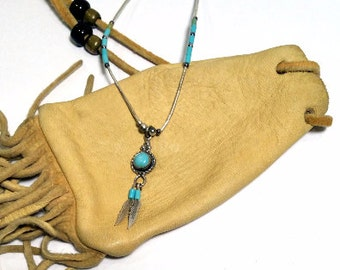 Small Turquoise Necklace Silver Southwest Native American Style Feather Necklace