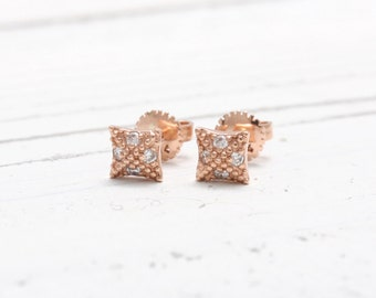Diamonds Beads Dotted Square 14K Solid Gold Stud Earrings, Milgrain Pyramid Tiny Diamonds Post Earrings