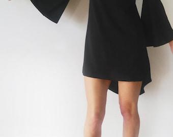 Wide Sleeves Black Cotton Jersey Minimalist Asymmetric Dress/Bell Sleeves Elegant High Low Black Women's Dress/Black Cocktail Dress