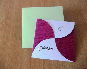 Wedding announcement form petal fushia white and anise